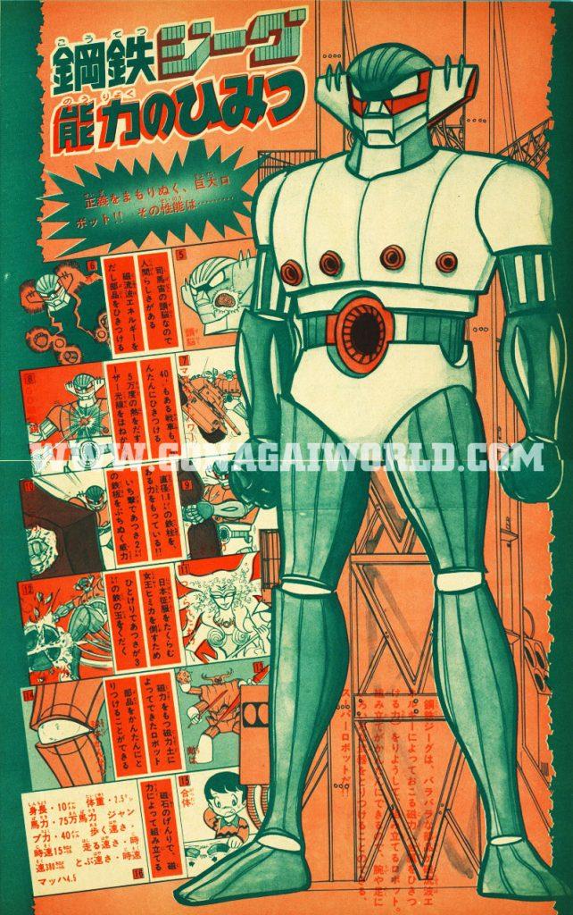 Figura totale di Kotetsu Jeeg e note (con illustrazione) relative al potere magnetico del robot d'acciaio.