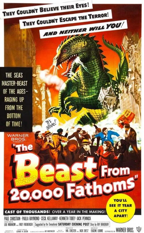 """Il poster de """"Il risveglio del dinosauro"""" (The Beast from 20.000 Fathoms)."""