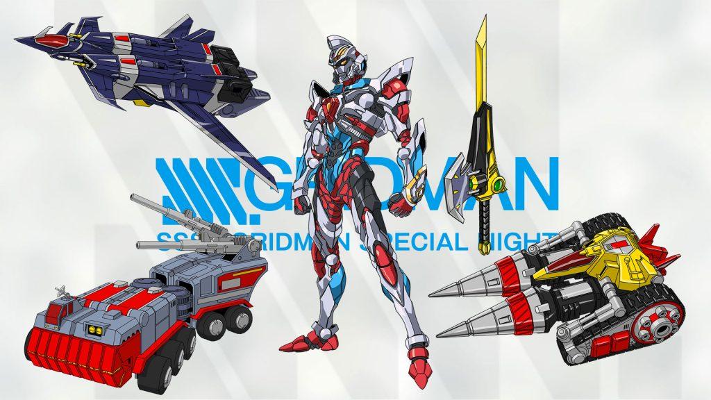 Armi e velivoli di supporto dell'eroe Gridman, opera del mecha designer Tsuyoshi Noaka.